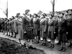 Women's Army Corps World War II. Maj. Charity E. Adams and Capt. Abbie N. Campbell inspect the first contingent of black members of the Women's Army Corps assigned to overseas service in WWII. Source: National Archives
