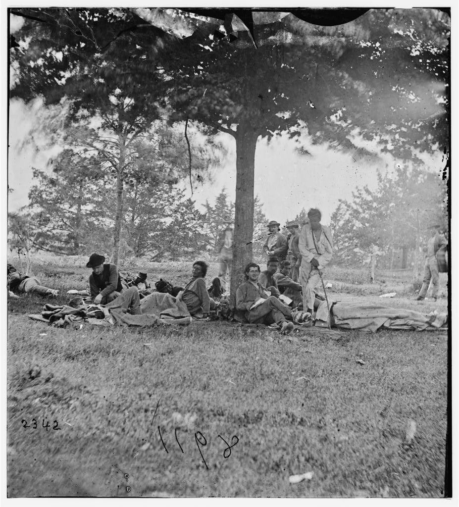 Wounded Native American sharpshooters on Marye's Heights after 2nd Battle of Fredericksburg, May 1864.