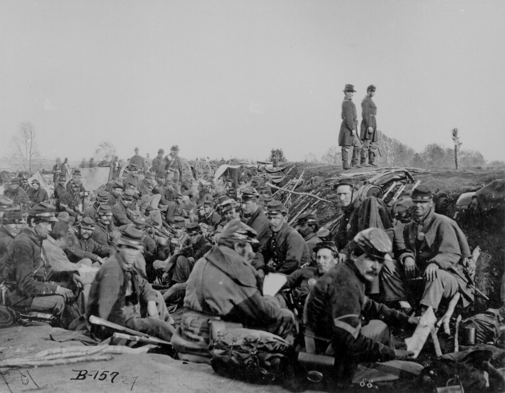 Soldiers in the trenches before battle, Petersburg, Va., 1865. (Though this is disputed. Could be Fredericksburg, Spring 1863.)