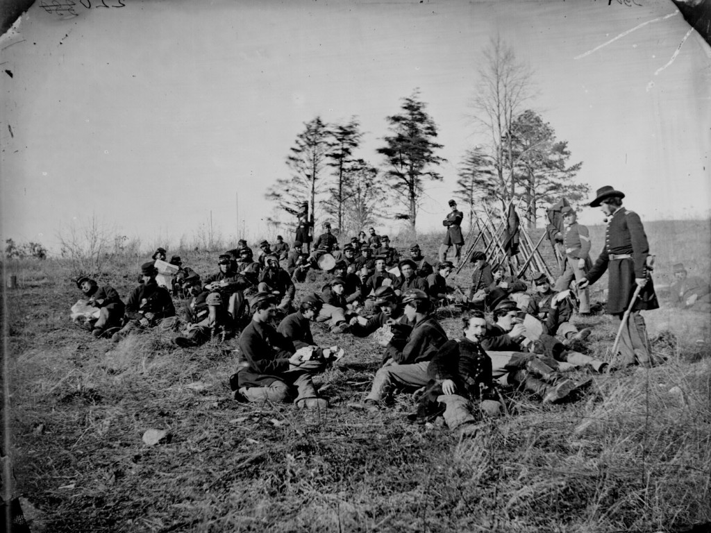 Soldiers at rest after drill, Petersburg, Va., 1864.
