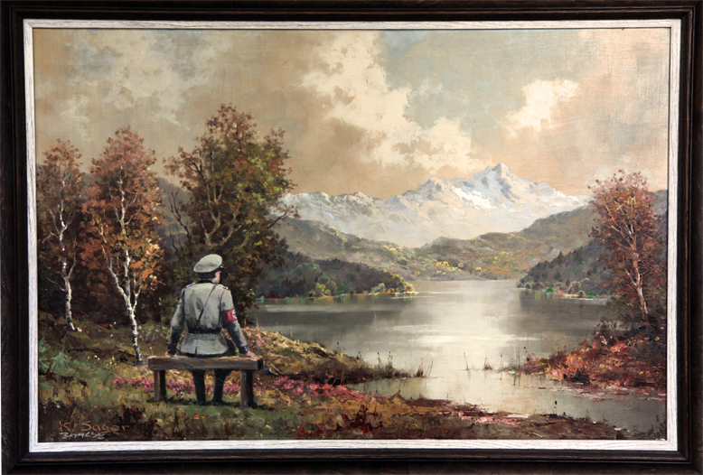 'The banality of the banality of evil ' Oil on oil on canvas. Banksy: Better Out Than In, 2013