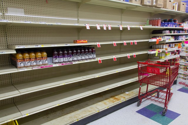 Empty shelves at a local Foodland between Freedom Industries and American Water. CREDIT: FOO CONNER/@IWASAROUND
